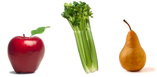 An apple, celery and a pear