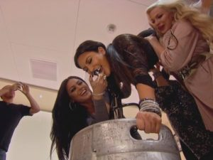 Kim Kardashian doing a keg stand