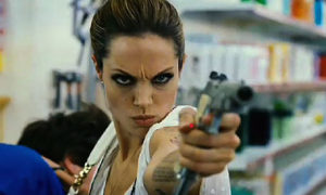 Angelina Jolie Pointing a Gun