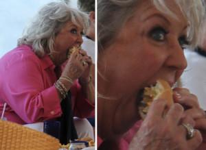 Paula Deen wolfing down a burger, pre-diet