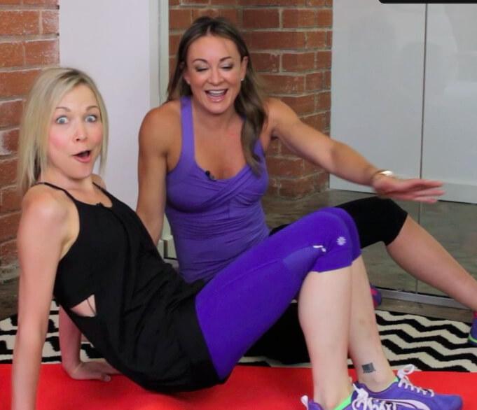 GiGi does Russian Kicks with Michelle Bridges!
