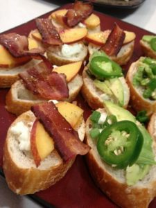Bacon Goat Cheese Crostinis and Avocado Hot Pepper Crostinis