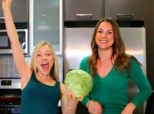 GiGi Dubois and Whitney English with Cabbage