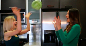 Throwing a cabbage!