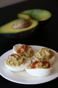 Guacamole and Salsa filled Healthy Deviled Eggs