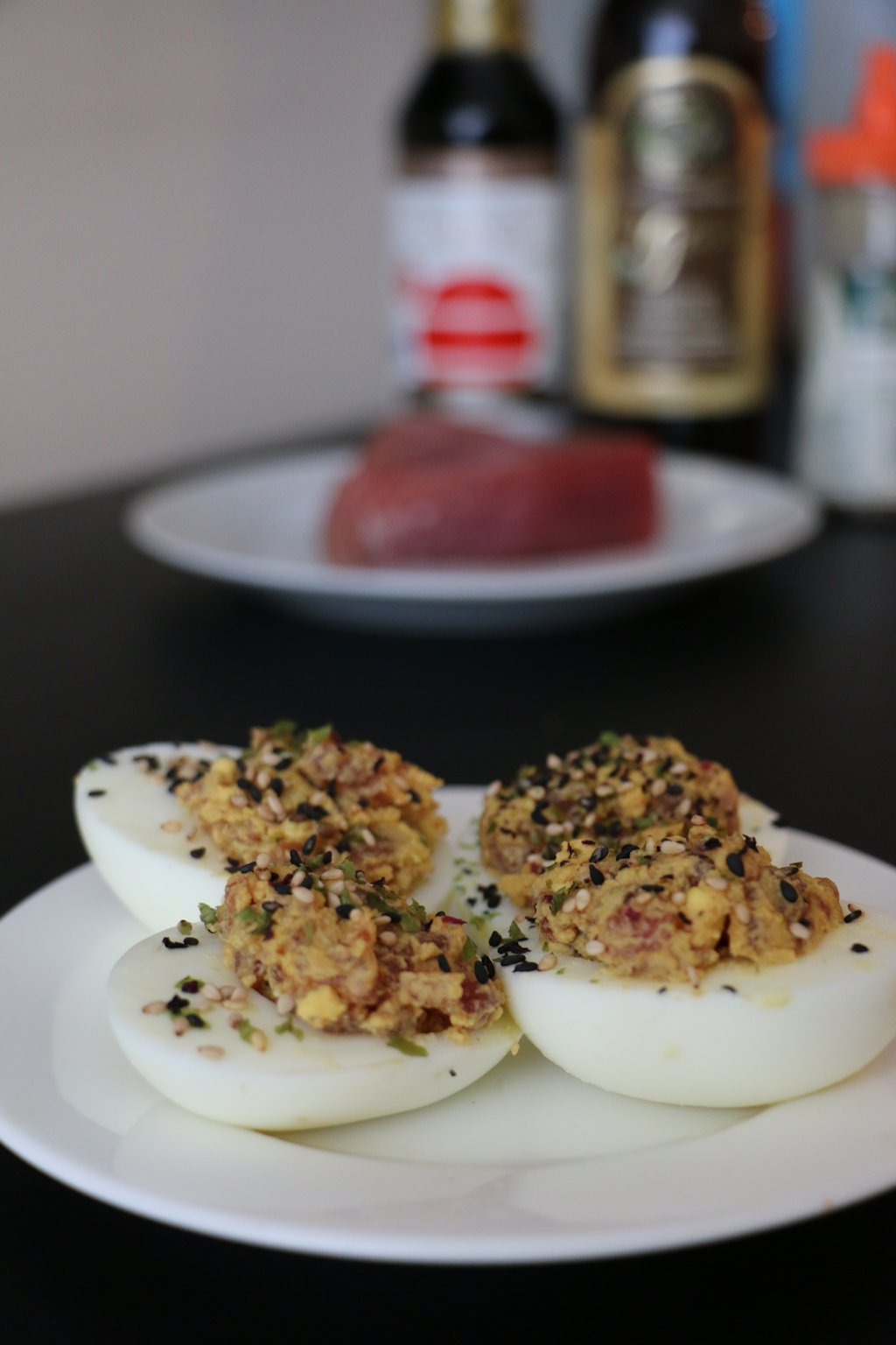 Spicy Tuna Deviled Eggs (4 Halves)