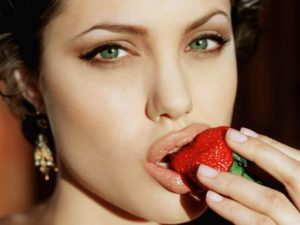 Angelina Jolie Eating Strawberries