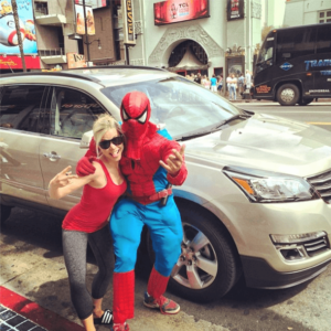 GiGi and Spider Man on Hollywood Blvd
