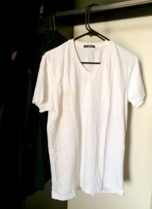 Dirty White T-Shirt on Hanger