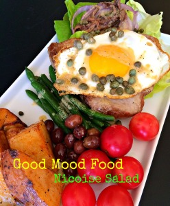 Nicoise Salad with tuna, eggs, green beans, tomatoes, potatoes and anchovies