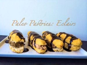 Paleo Pastries, an eclair recipe that is sugar, wheat, dairy, nut and soy free. This recipe can also be vegan and it uses NuZest protein powder.