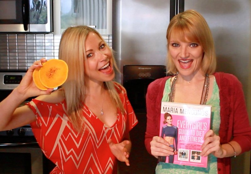GiGi Dubois and Tara Redfield posing with Every GIrl's Guide to Diet and Fitness by Maria Menounos