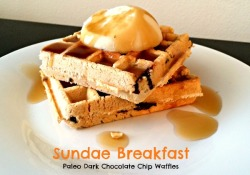 Paleo Coconut Flour Dark Chocolate Chip Waffles