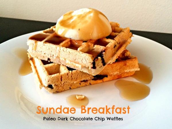 Sandae Breakfast , Paleo Dark Chocolate Chip Waffles