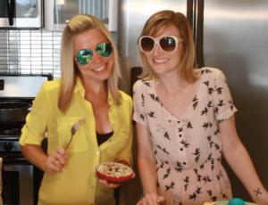 GiGi and Tara pose with egg salad