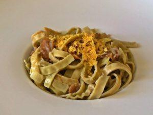 paleo pasta carbonara, dairy free and gluten free
