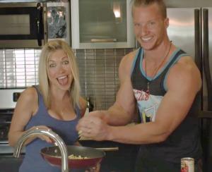 Brad Gouthro and GiGi Eats in the kitchen