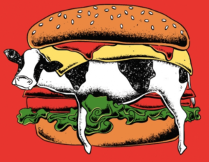 cow in a burger cartoon