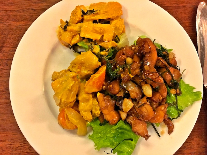 Cambodia Chicken and Fish Curry and Basil Chicken