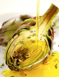 Artichoke drizzled with oil
