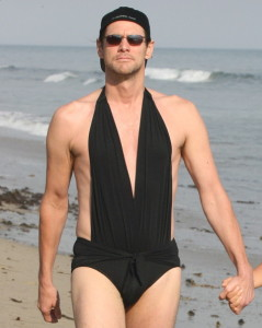 Jim Carrey in a woman's bathing suit