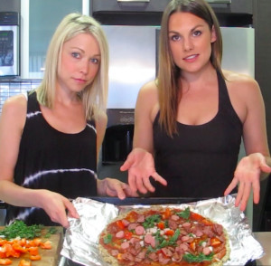 GiGi Dubois and Whitney English cook pizza!
