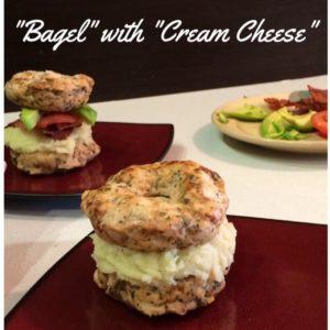 Meat Bagel with Parsnip Cauliflower Puree - Bagel and Cream Cheese look alike!