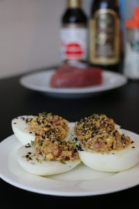 Healthy Spicy Tuna Deviled Eggs