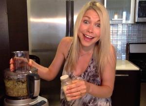 GiGi Eats Celebrities in the kitchen making artichoke eggplant coriander dip