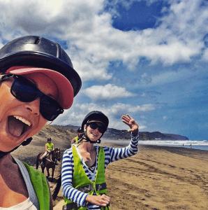 Horseback riding selfie on the beach