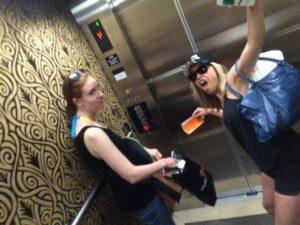 Girls in the elevator