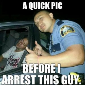 passed out drunk with a cop selfie
