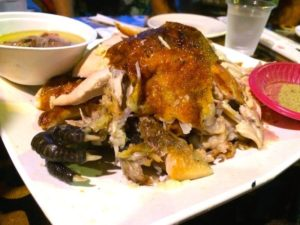 Whole roasted chicken with claw