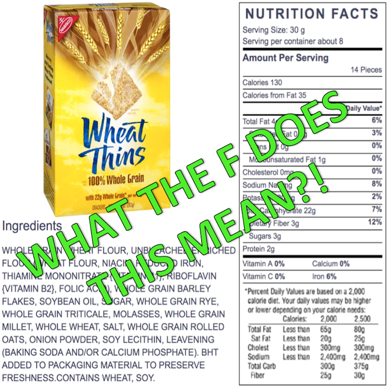 wheat thins nutrition label