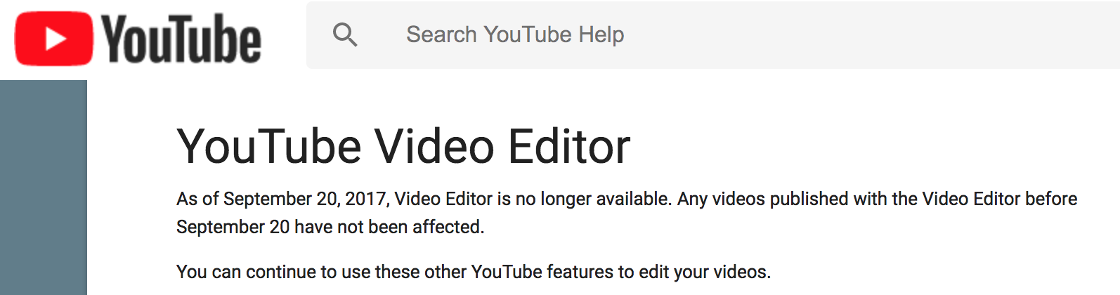 no more youtube editor